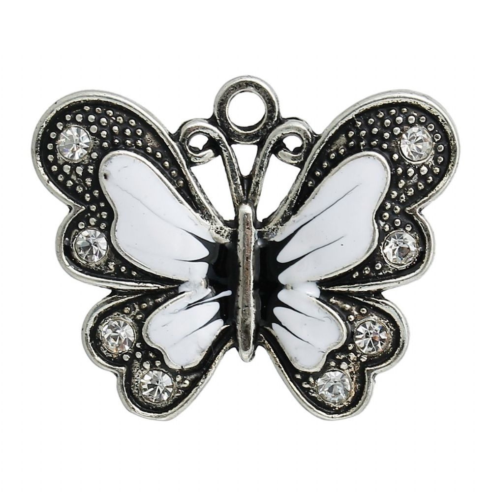 2 x  Antique Silver, White & Black Enamelled Butterfly Charms  With Clear Rhinestone
